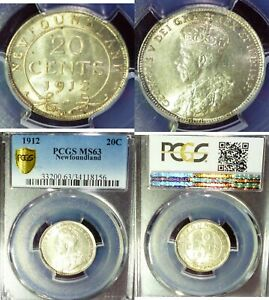 Click now to see the BUY IT NOW Price! 1912 CANADA  NEWFOUNDLAND 20 CENTS PCGS MS63 KING GEORGE SILVER COIN   KM 15
