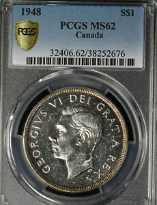 Click now to see the BUY IT NOW Price! BEAUTIFUL KEY DATE 1948 CANADA SILVER DOLLAR   PCGS MS 62
