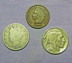 STARTER COLLECTION LOT OF 3  US COINS BUFFALO  LIBERTY & INDIAN HEAD CENT