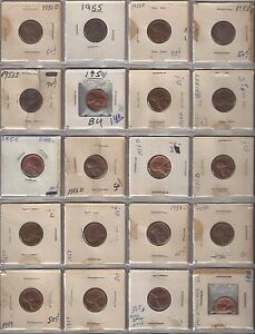 20 BETTER GRADE LINCOLN WHEAT AND MEMORIAL CENTS 1952 1960