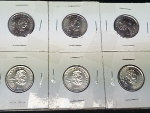 2007 CANADA VANCOUVER OLYMPIC 6 COIN SET 25 CENTS COIN 6 X COIN S
