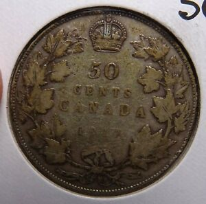 1917 CANADA 50 CENTS  SILVER COIN STERLING 925 CANADIAN COINS
