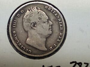 1834 GREAT BRITAIN SIX PENCE SILVER COIN