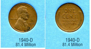 LINCOLN HEAD WHEAT CENT 1940 D AVERAGE CIRCULATED UNITED STATES 1 PENNY COIN B6