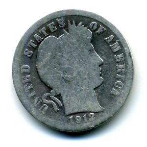 1912 P BARBER HEAD DIME 90  .900 SILVER US 10 CENT U.S AMERICAN 10C US COIN4646