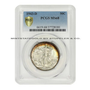 Click now to see the BUY IT NOW Price!  1943 D 50C SILVER WALKING LIBERTY PCGS MS68 GEM GRADED DENVER MINTED COIN