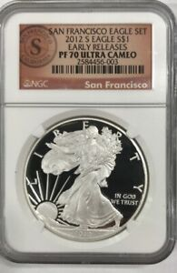2012 S EARLY RELEASES SF 75TH ANNIVERSARY SILVER EAGLE NGC PF70 PROOF