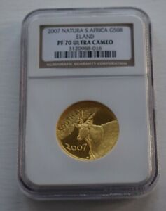 Click now to see the BUY IT NOW Price! 2007 SOUTH AFRICA NATURA PF70 ELAND 1/2 OZ 50R PROOF GOLD COIN NGC SLABBED