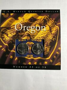 COINS OF AMERICA 2005 OREGON P & D MINT QUARTERS BEAUTIFULLY DISPLAYED