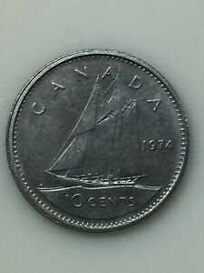 1974 CANADIAN DIME 10 CENT COIN