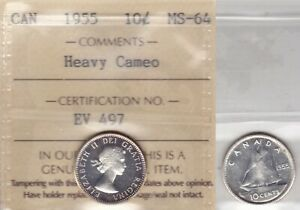 1955 ICCS MS64 10 CENTS HEAVY CAMEO CANADA TEN DIME SILVER