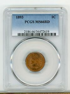 1893 P INDIAN HEAD PENNY MS 66 RD   PCGS