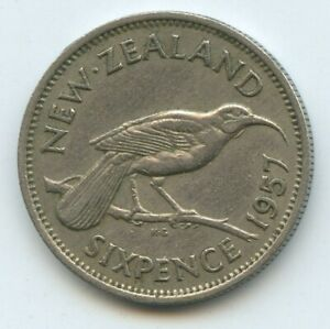NEW ZEALAND SIXPENCE 1957 COIN