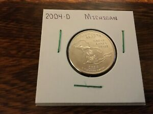 2004 D MICHIGAN STATE QUARTER UNCIRCULATED FROM BANK ROLL IN 2X2 HOLDER