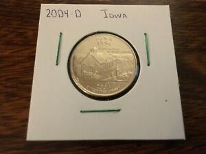 2004 D IOWA STATE QUARTER UNCIRCULATED FROM BANK ROLL IN 2X2 HOLDER