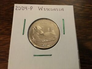 2004 P WISCONSIN STATE QUARTER UNCIRCULATED FROM BANK ROLL IN 2X2 HOLDER