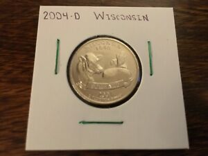 2004 D WISCONSIN STATE QUARTER UNCIRCULATED FROM BANK ROLL IN 2X2 HOLDER