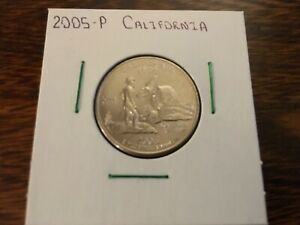 2005 P CALIFORNIA STATE QUARTER UNCIRCULATED FROM BANK ROLL IN 2X2 HOLDER