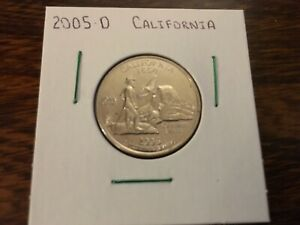 2005 D CALIFORNIA STATE QUARTER UNCIRCULATED FROM BANK ROLL IN 2X2 HOLDER