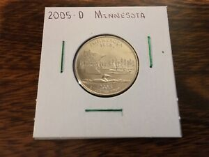 2005 D MINNESOTA STATE QUARTER UNCIRCULATED FROM BANK ROLL IN 2X2 HOLDER