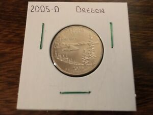 2005 D OREGON STATE QUARTER UNCIRCULATED FROM BANK ROLL IN 2X2 HOLDER
