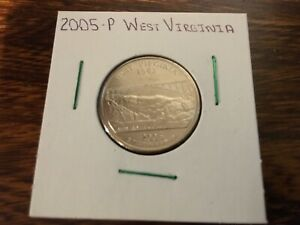2005 P WEST VIRGINIA STATE QUARTER UNCIRCULATED FROM BANK ROLL IN 2X2 HOLDER