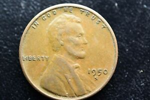 1950 S 1C LINCOLN WHEAT CENT PENNY US COIN AVERAGE CIRCULATED