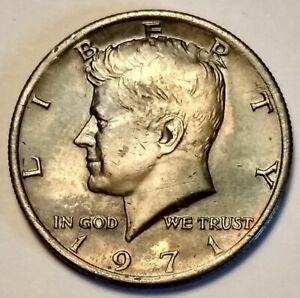 1971P KENNEDY HALF DOLLAR MISSING PLATING? ERROR COIN COPPER SHOWING