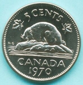 CANADA 1970 5 CENT NICKEL UNCIRCULATED FROM MINT ROLL