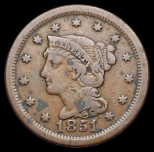BRAIDED HAIR LARGE CENT 1851 FINE DETAILS