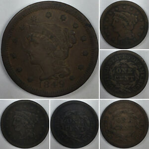 BRAIDED HAIR LARGE CENTS  1843 LARGE LETTERS 1849 1851    NICE US COPPER COINS