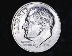 2006 P ROOSEVELT DIME WITH INTERIOR DIE CHIP ERROR ON OBVERSE.  CIRCULATED.