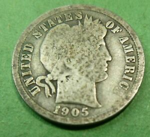 ONE CIRCULATED SILVER BARBER LIBERTY DIME ASSORTED DATES  1892 TO 1916   BLDA
