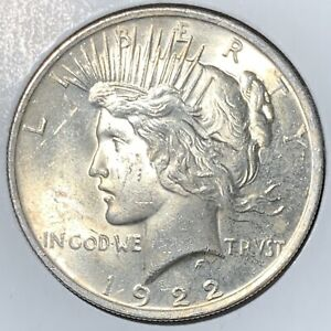 1922 PEACE SILVER DOLLAR  ABOUT UNCIRCULATED    ORIGINAL COIN    LUSTROUS