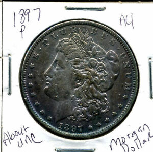 1897 P AU MORGAN DOLLAR 100 CENT  ABOUT UNCIRCULATED 90  SILVER US $1 COIN 1142