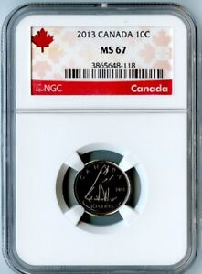2013 CANADA NGC MS67 DIME  SUPER HIGH GRADE  RED CANADA LABEL