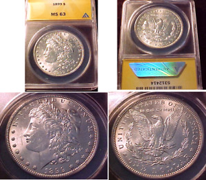 KEY DATE1899 MORGAN DOLLAR  ANACS CERTIFIED MS 63..BRIGHT WHITE  NO PROBLEMS