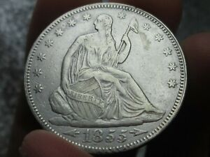 1855 P SEATED LIBERTY SILVER HALF DOLLAR 50C ARROWS   XF DETAILS  CLEANED