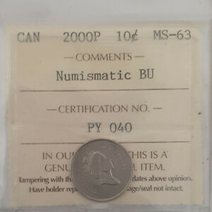 Click now to see the BUY IT NOW Price! 2000P CANADA 10 CENTS COIN  KEY ISSUE CERTIFIED BY ICCS  MS 63 PY 040