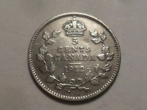 1912 CANADA 92.5  SILVER FIVE CENT LOW MINTAGE 5 863 170