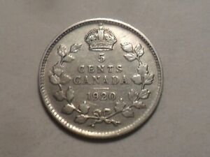 1920 CANADA 92.5  SILVER FIVE CENT LOW MINTAGE 10 649 851