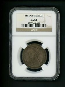Click now to see the BUY IT NOW Price! 1852 GREAT BRITAIN 2S TWO SHILLING VICTORIA NGC MS 64 UNC GEM ORG SURFACE TONING
