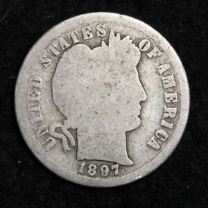 1897 S SILVER BARBER DIME GOOD