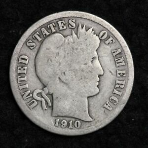 1910 D SILVER BARBER DIME GOOD