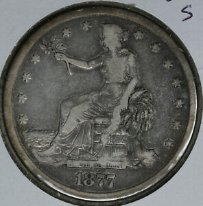 NICE 1877 S TRADE DOLLAR    FINE CONDITION