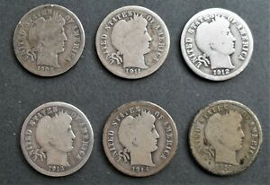 1909 1916  BARBER DIME  GROUP OF 6  NICE SILVER COINS