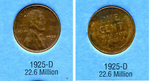 LINCOLN HEAD WHEAT CENT 1925 D AVERAGE CIRCULATED UNITED STATES 1 PENNY COIN B6