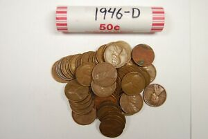 ONE ROLL 1946 D WHEAT PENNIES OLD VINTAGE ANTIQUE LINCOLN CENT AMERICAN COINS