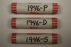 THREE ROLL SET 1946 P 1946 D 1946 S WHEAT PENNIES OLD VINTAGE ANTIQUE COINS