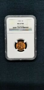 1942 P LINCOLN WHEAT PENNY CENT 1C NGC MS 67 RED  RD  TYPE 1 WHEAT REVERSE